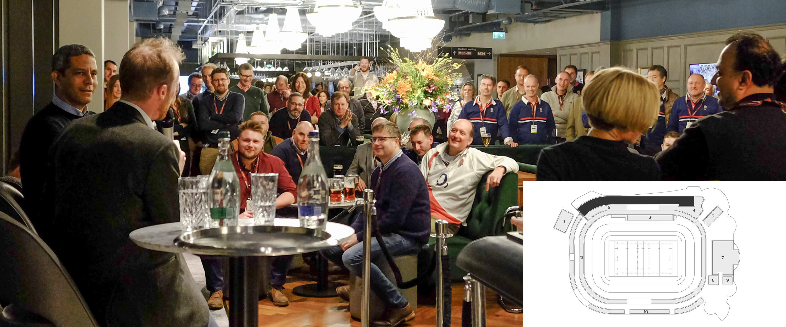 Hospitality guests at the East WIng, Twickenham Stadium enjoying a meet and great with past players.