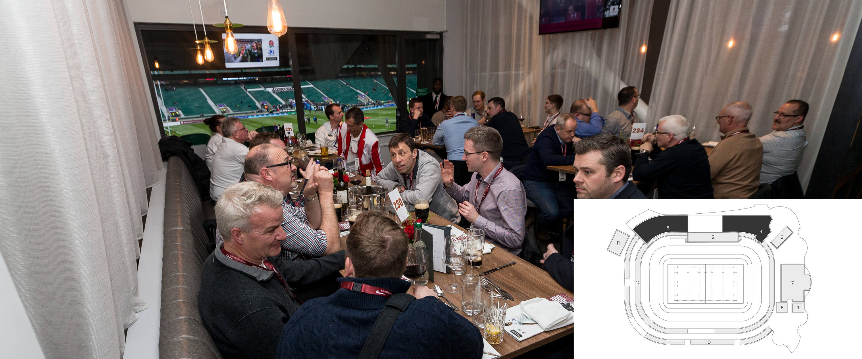 The Lock Pitch View guests enjoying fine dining and complementary bar, with views of the Twickenham pitch.