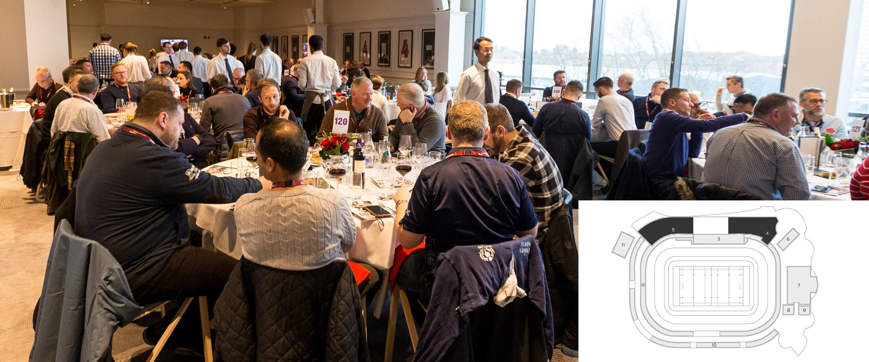 Guests enjoying a dual aspect pitch view and fine dining with rugby hospitality at The Lock restaurant in Twickenham Stadium.