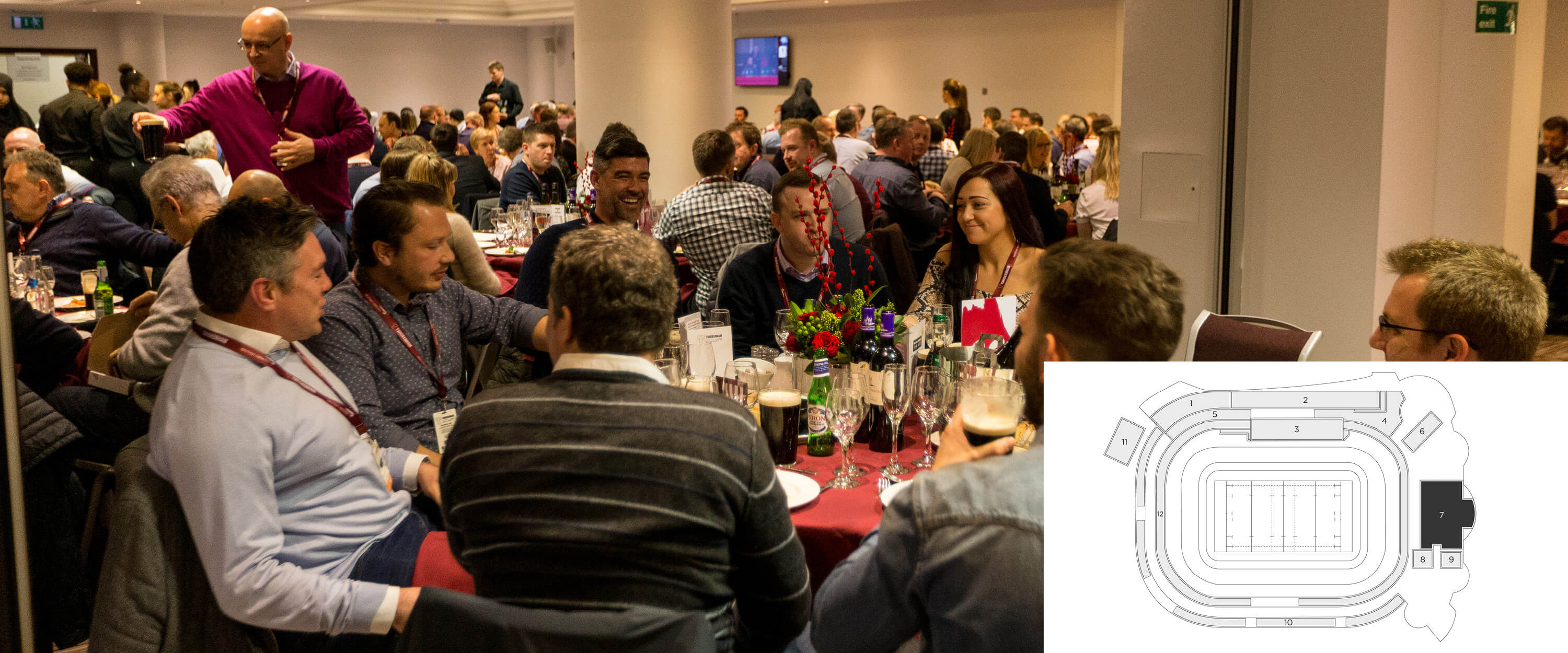 Hospitality guests enjoying a drinks reception and a four course lunch at the Rugby House, Twickenham Stadium.