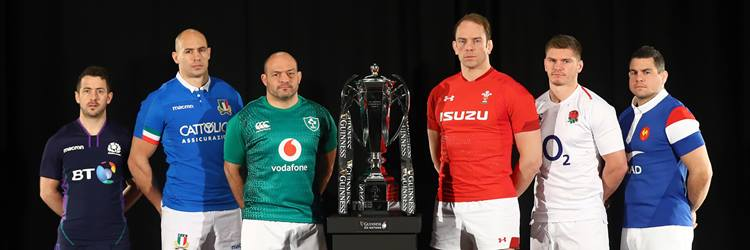 Captains of the Six Nations 2020 teams with the Championship Trophy.